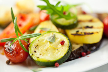 Grilled vegetables with herbs and pink peppercorns