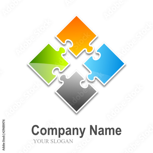 Logo Puzzle 4 Pieces Split Multi Colors