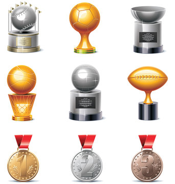 Vector sport trophies and medals icon set