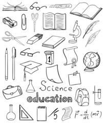 science and education icons vector collection