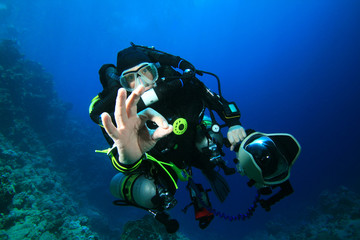 Scuba Diver with Closed-Circuit Rebreather