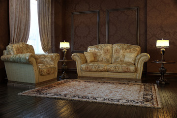 Classic interior with sofa and lamp