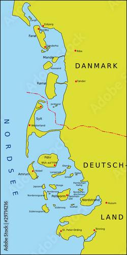 Nordfriesische Inseln Karte.Karte Nordfriesische Inseln Stock Image And Royalty Free
