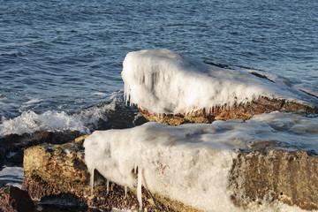 Winter shore of the Caspian Sea.