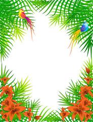 Beautiful little birds on palm