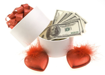 White round box with dollars and two red hearts