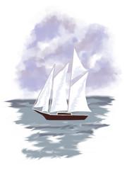 Парусник на море, кораблик