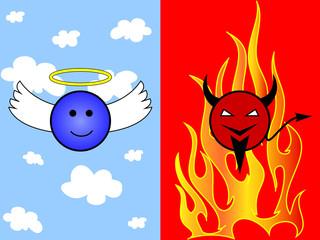 Cartoon of angel and devil