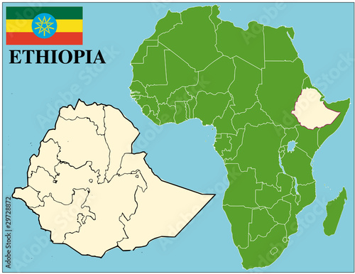Ethiopia emblem map africa world business success background Stock