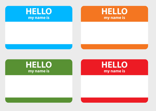 Hello my name cards set