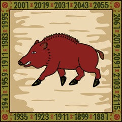 Boar - symbol of 2007, 2019 years
