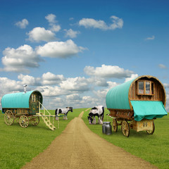 Wall Mural - Old Gypsy Caravans, Trailers, Wagons with Horses
