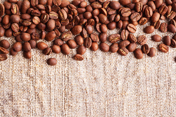 Grains of coffee on a fabric