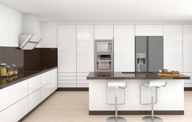 interior white and brown kitchen