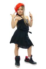 hip-hop sweet little girl posing isolated on white