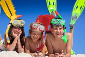 Snorkel kids on beach