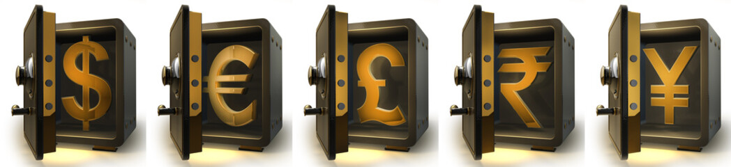 Collection safe with Golden money simbols of the world