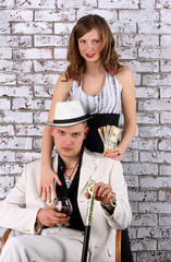 Mafia. The man in a suit and girl