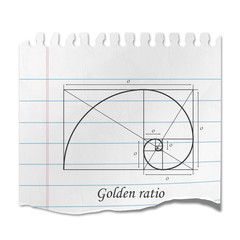Recorte de papel diagrama golden ratio