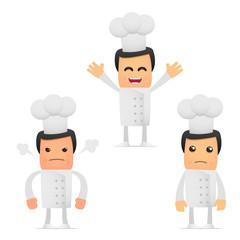 set of funny cartoon chef