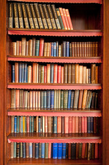 Stores à enrouleur Bibliotheque Old bookshelf with rows of books in ancient library
