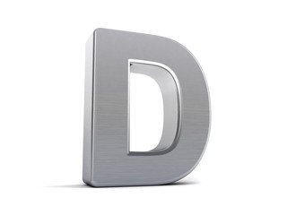 Letter D as brushed metal object over white