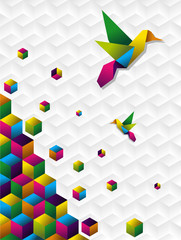 Canvas Prints Geometric animals Colorful cubes in motion