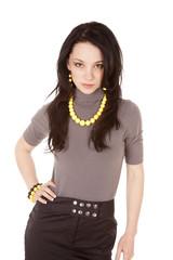 Woman portrait yellow beads