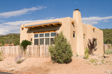 Home Adobe Suburban Santa Fe NM Palisade Fence USA