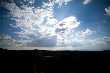 Sky Clouds Sunbeams Santa Fe New Mexico Wide Angle