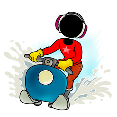 Silhouette-man on transportation icon - snowmobile