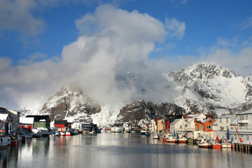 Wall Mural - Clouds on Henningsvaer