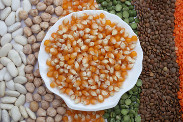 Ceramic plate with corn seeds over seeds and grains background