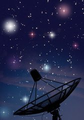 Satellite dish under starry night sky
