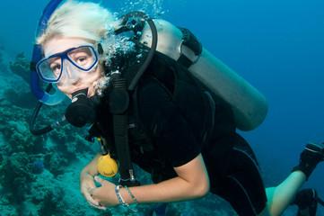 scuba diver having fun