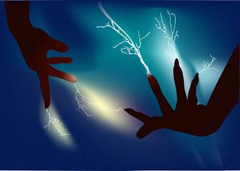human hands and lightning illustration
