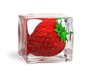 Foto op Canvas In het ijs Strawberry frozen in ice cube