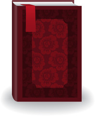 big red book in cover with flowers and a bookmark