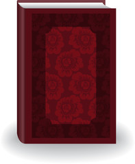 Beautiful red big book in cover with flowers