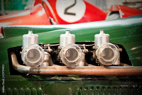 Wall mural vintage race car engine carburetors