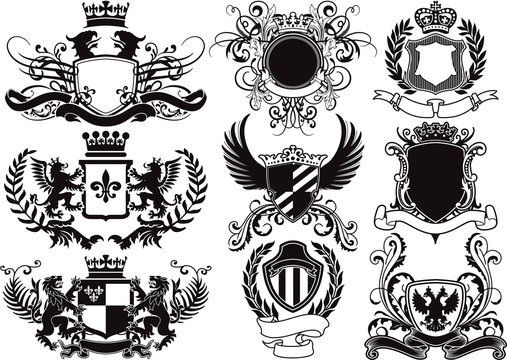 coat of arms, shields and heraldic vector elements