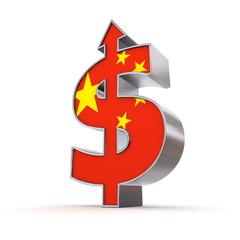 Dollar Symbol Arrow Up - Chinese Flag Texture
