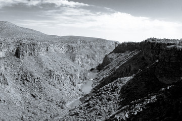 Black White Rio Grande River Gorge New Mexico