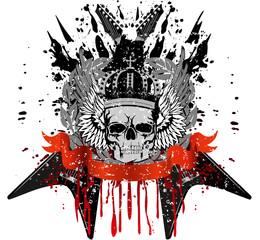 skull with crown against crossed  guitars