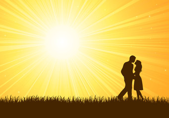 Silhouette of young man and woman