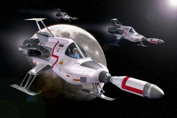 Wall Mural - spaceship interceptor moon ufo