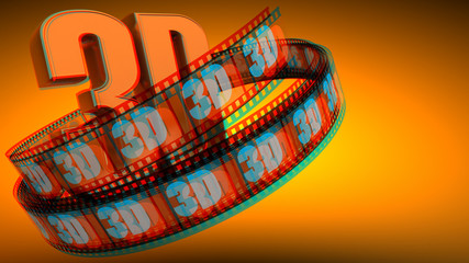 3D Film with word 3D