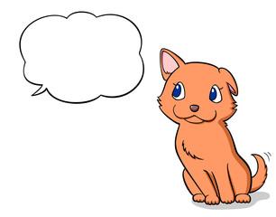 speech balloon and dog