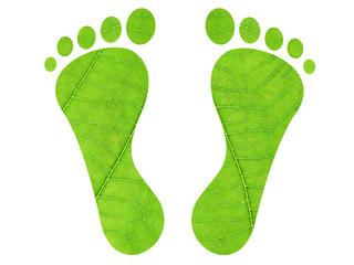 Set of green leaf footprints