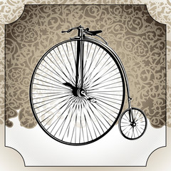 Photo sur Aluminium Illustrated vintage background with old bicycle.